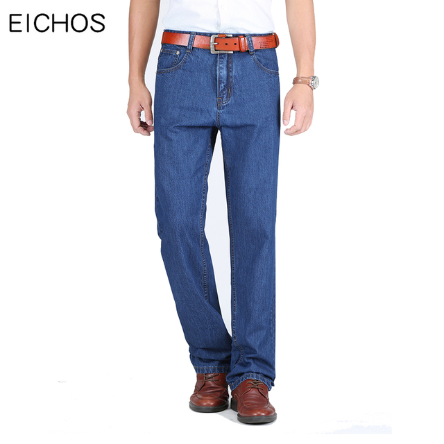 Men Straight Pants Jeans Summer Classic Blue Denim Trousers Casual Healthy 100% Cotton Thin Jeans Men Quality Brand Clothes