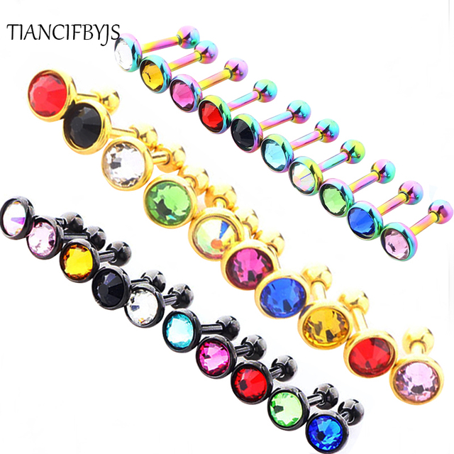 TIANCIFBYJS Tragus Ear Helix Ring Wholesales 100ps Mix Crystal Silver Black Gold Lip Bar Body Jewelry Cartilage Earring Stud