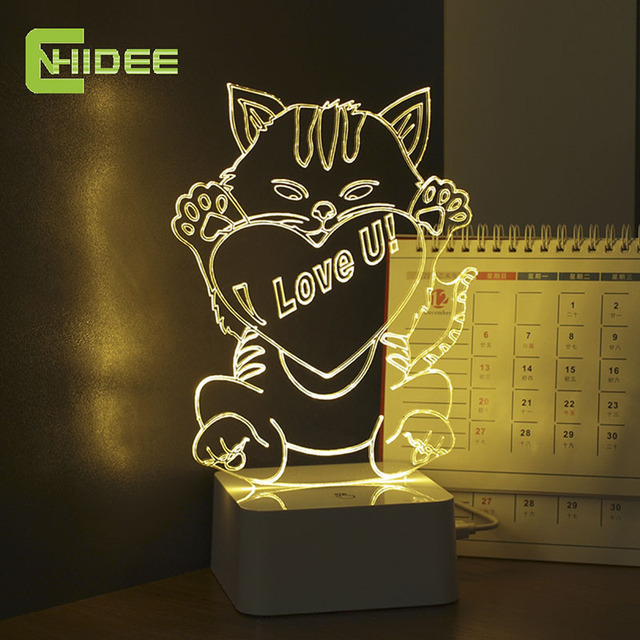 CNHIDEE Creative Holiday Gifts Valentine's Day Love You Cats 3D Led Night Light Touch Table Lampara