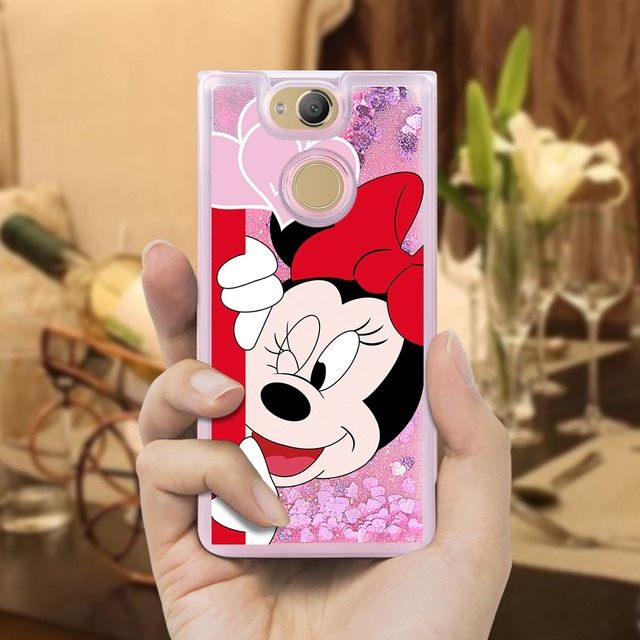 Liquid Mickey Mouse Case For Sony Xperia XA2 Case Silicone Coque Cover Etui For Sony Xperia XA2 XA 2 Cover Capa 5.2 inch Case