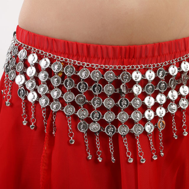 Waist Chain Metal Coins Hip Scarf Tribal Coin Belt With Jingle Belt Gold and Silver Color