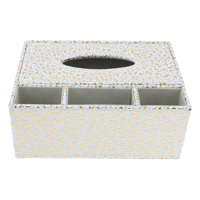 PU Leather Rectangular Tissue Box Cover Napkin Holder Home Tabletop Decor