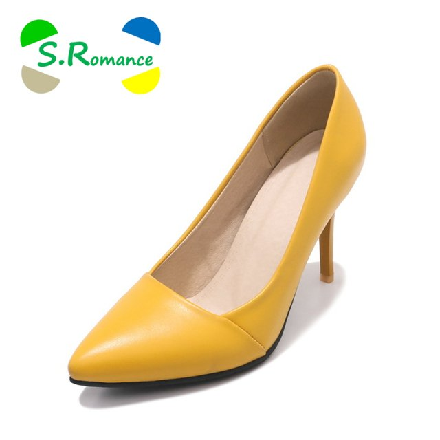 S.Romance Women Pumps 2018 Plus Size 34-43 New Fashion Female Pointed Toe High Heels Office Lady Woman Shoes Black Yellow SH065