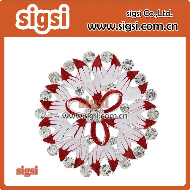 wholesale bulk unique round enamel flower rhinestone brooch wedding button brooch bouquet(not pin )