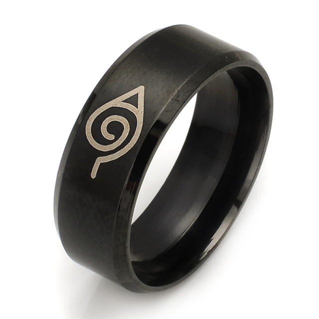 Wholesale 10pcs/lot Animation Naruto Rings Stainless Steel Black Color Rings For Men Jewelry Size 7 8 9 10 11 12