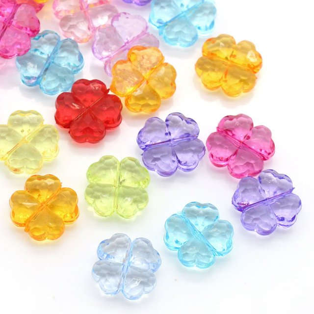 DoreenBeads Acrylic Spacer Beads Four Leaf Clover Mixed Faceted 11x11mm,Hole:Approx 1mm,200PCs (B25071), yiwu