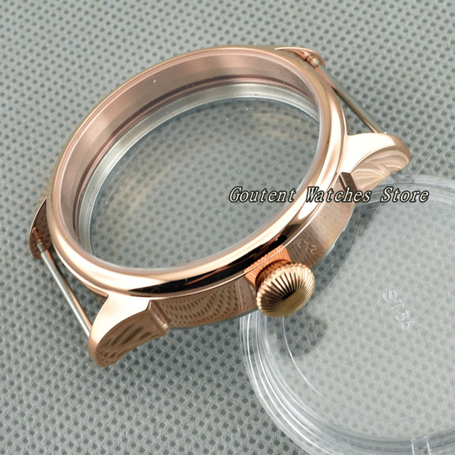 42mm Rose Gold Stainless Steel Watch Case Fit ETA 6497/6498 Seagull ST36 Movement Wristwatch Shell