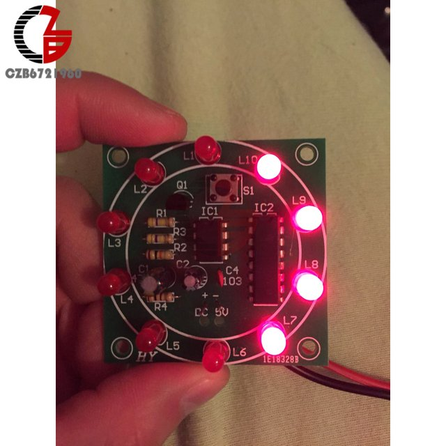 NE555 Lucky Rotary Suite Electronic Suite CD4017 Self LED Light DIY Kits DC 3V 5V Pulse Generator for Christmas Holiday Decorate