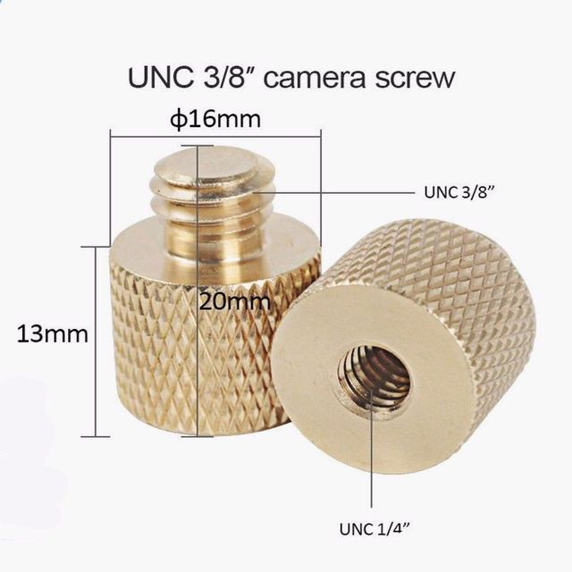 New 3/8 inch Female to 1/4 inch Male Tripod Thread Reducer Adapter Brass Copper For Camera tripod Diameter of screw 6mm