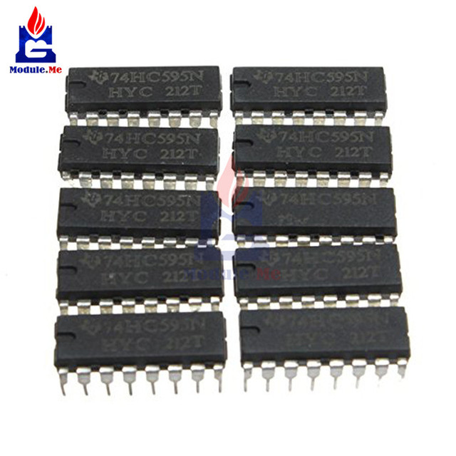 10PCS/Lot IC Chips SN74HC595N 74HC595 74HC595N HC595 DIP-16 8 Bit Shift Register IC Module