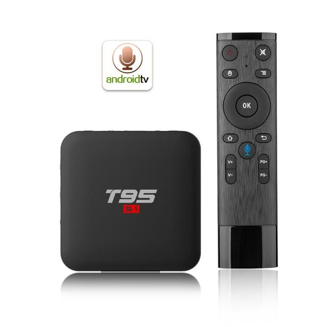 T95 S1 Android 7.1 TV Box Quad Core Amlogic S905W H.265 2GB/16GB 2.4GHz WiFi 4K HD Media Player Voice Control Smart TV Box