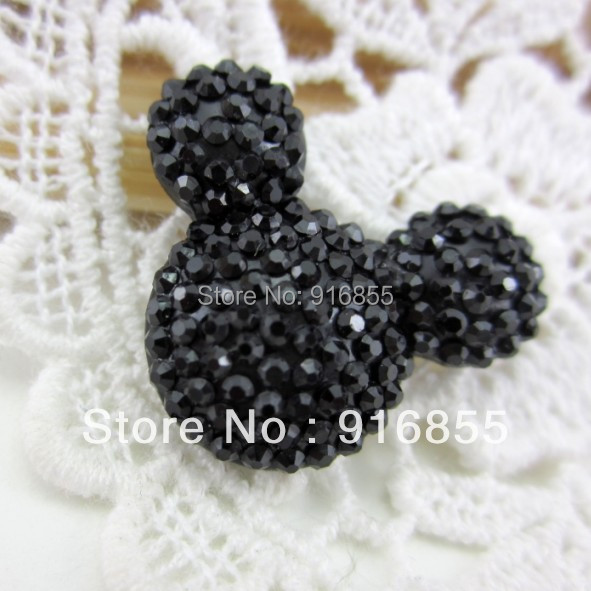 Free shipping fashion and new 200pcs/lot 23*19mm black mickey head shape flatback resin rhinestone for DIY Hair accessories