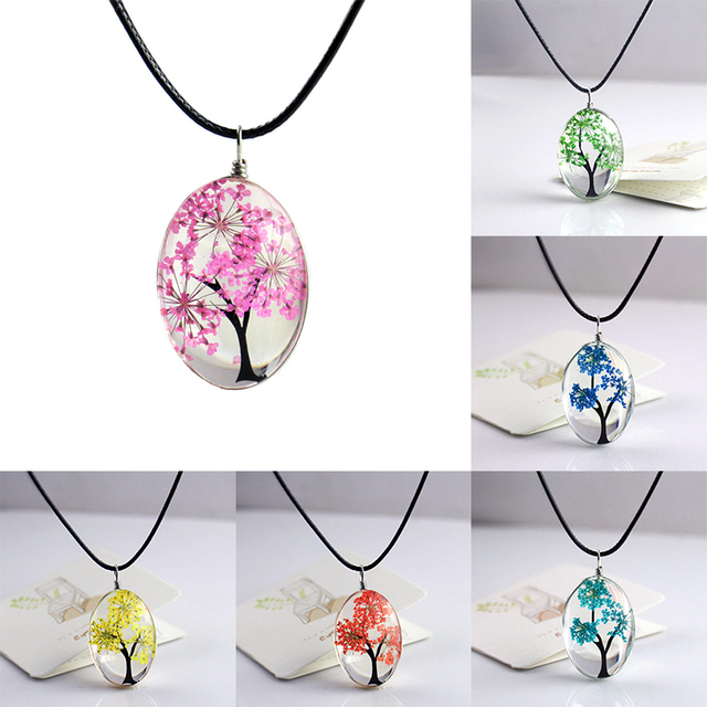 2019 Handmade Glass Women Creative Pendant Necklaces Plants Women Jewelry Tree Of Life Oval Jewelry Necklace Gift