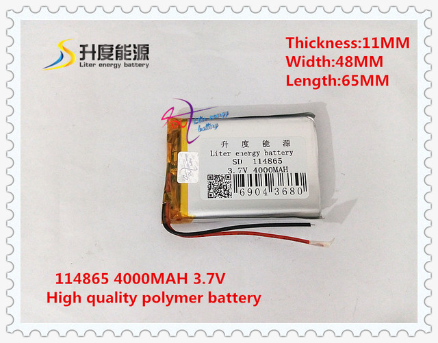 3.7V 4000mAH  114865 Polymer lithium ion / Li-ion battery for tablet pc GPS power bank MP4 MP3