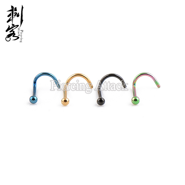 (Min. order $10) Body Jewelry Titanium Anodized Surgical Steel Ball Nose Screw 20 Gauge 0.8*6.5*2mm  Nose Ring