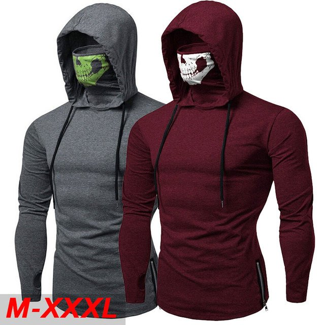 2019 Fashion Long-Sleeved T-Shirt With Skull Mask Gothic Casual Sport Hooded T Shirt  Street Cool Travel Men's Top Tee