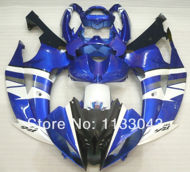 7gifts+ White blue black fairing kits for R6 Yamaha YZF-R6 08-09 YZF R6 08 09 YZF 600 R6 2008 2009 pre_drilled ABS fairing parts