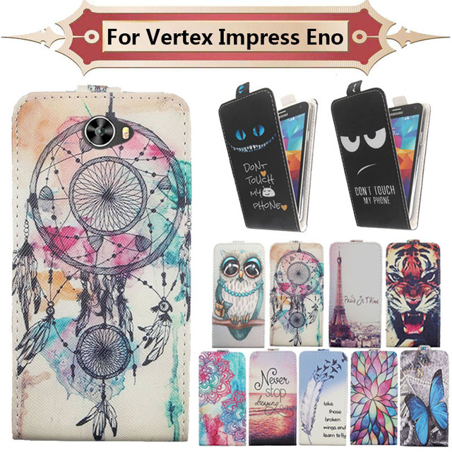 Top Selling 11 Colors Cartoon Pattern Up and Down Flip PU Leather Case For Vertex Impress Eno