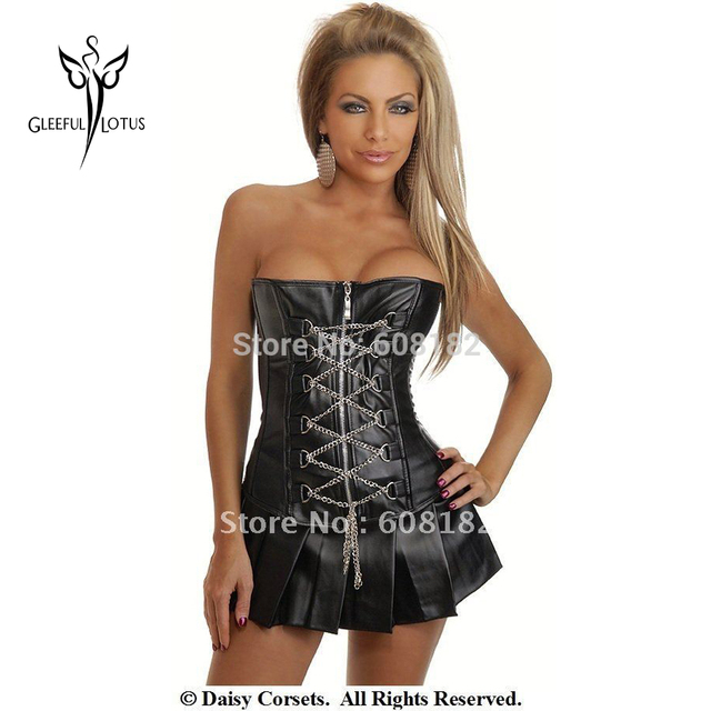 Hot SALE Sexy Black Leather Corselet Dress Waist Trainer Corsets And Bustier Waist Cincher Corset Girdle For Women Body Shaper