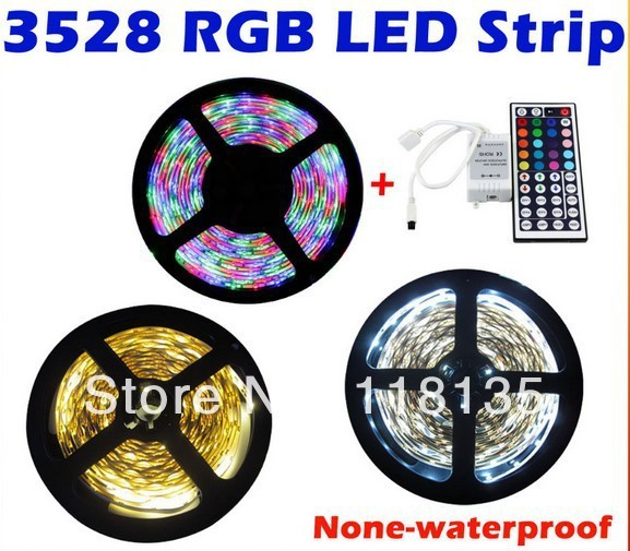 5M SMD Flexible 3528 Led Strip 300leds Non Waterproof RGB strip light 44key controller online for sale free shipping
