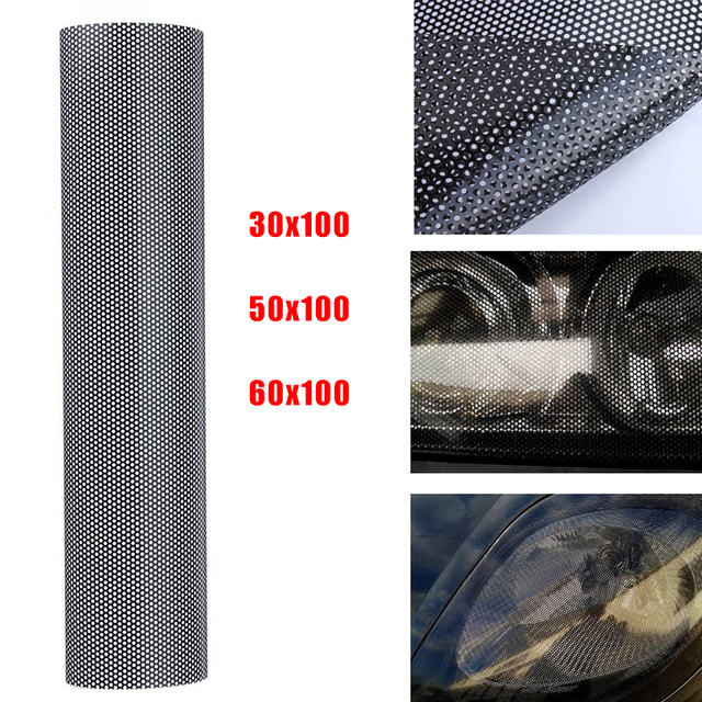 Perforated Mesh Hollow Film Sheet Car Headlight Taillight 30x100CM Universal