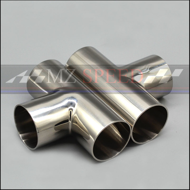 """51mm 2"""" 57mm 63mm 76mm OD Sanitary Weld  T-typeThree links Pipe 304 stainless steel car exhaust pipe muffler welded pipe"""