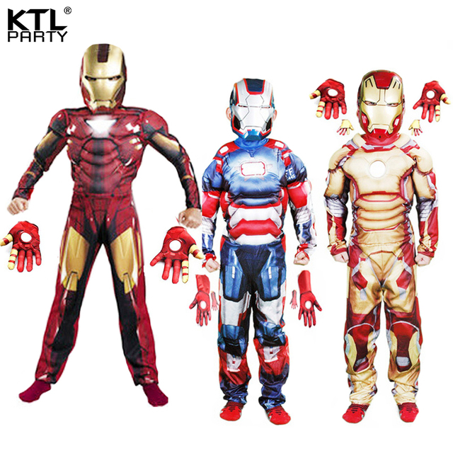 children boys the avengers Iron man costume with muscle stretchy party clothes gloves clothing for kid 5 sizes 3-12 ages