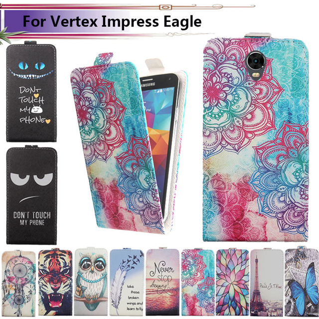 Fashion 11 Colors Cartoon Pattern Up and Down Flip PU Leather Case For Vertex Impress Eagle