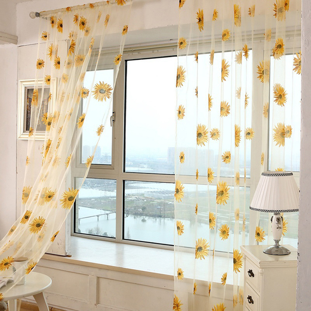 Sunflower Sheer Tulle Window Curtain Valance Door Room Divider Drape Decoration