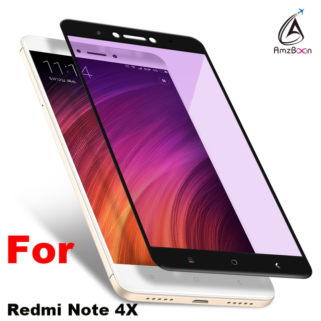 Amzboon Anti Purple Tempered Glass Film 2.5D 0.33mm Full Screen Cover 9H Hard Screen Protector Tempered Glass For Redmi Note 4x