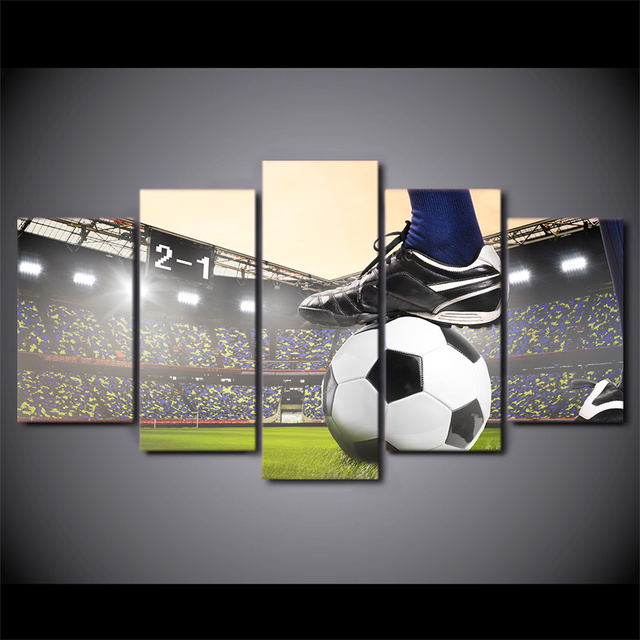 5 Panel Soccer Match Football Course Canvas HD Printed Poster Frame Painting Modular Living Room Wall Art Pictures Oil Painting