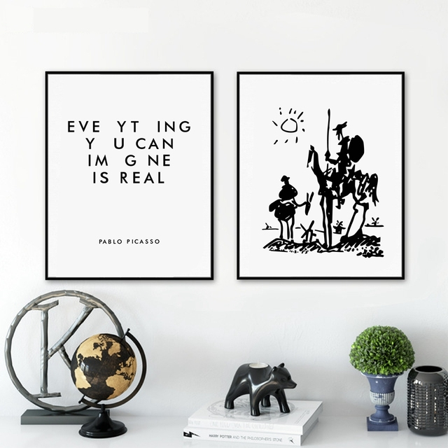 Everyhing you can image is real Pablo Picasso Art Paintings Canvas Print , Don Quixote Poster Painting Wall Picture Home Decor