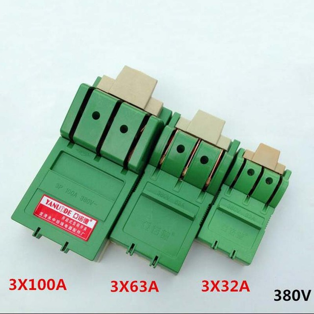 4pcs Three-phase Knife,Three Single-phase High-power Switch, Knife Switch Open Load Switch 3 * 32A 3 * 63A  380V
