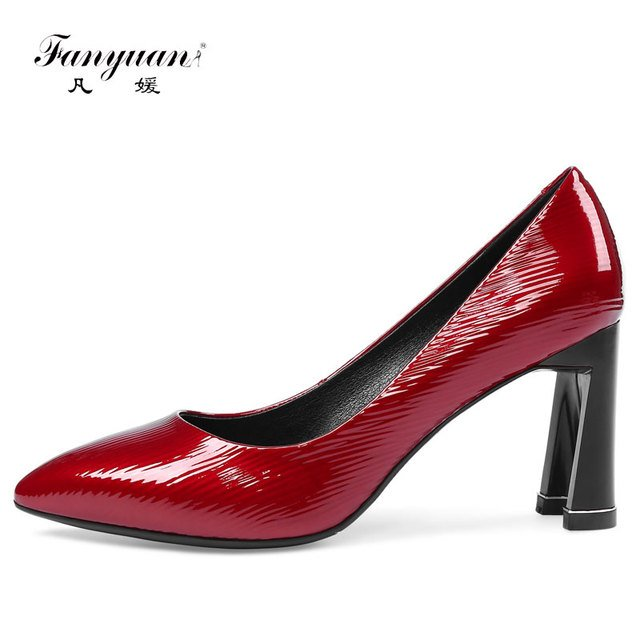 Fanyuan New 2018 women Genuine Leather high heels Sexy pointed toe Scales OL women pumps Fashion Handmade Cowleather shoes woman