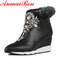 ANMAIRON Pointed Toe Ankle Boots for Women High Heels Wedges Shoes Woman Large Size 34-41 Classic Black Platform Shoes Zipeprs