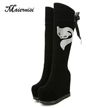 MAIERNISI Boots Winter Women Over the Knee Boots Comfort Ladies Long Boots Woman Shoes Pattern Black Boots for Ladies