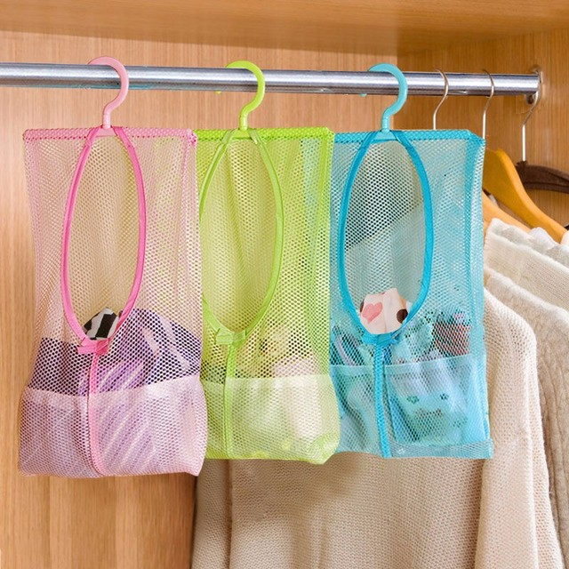 Multi-function Space Saving Hanging Mesh Bags Clothes Organizer for Bedroom