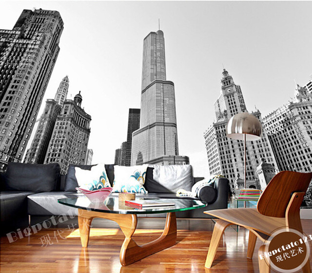 The latest 3D murals, classic black and white of high-rise buildings de parede Papel, living room TV sofa bedroom wall paper