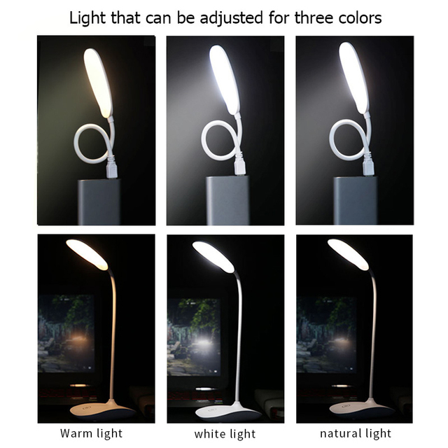 LED Touch On/off Switch 3 Modes Clip Desk Lamp protects the eye reading light Dimmer Rechargeable USB Led Table Lamps book light