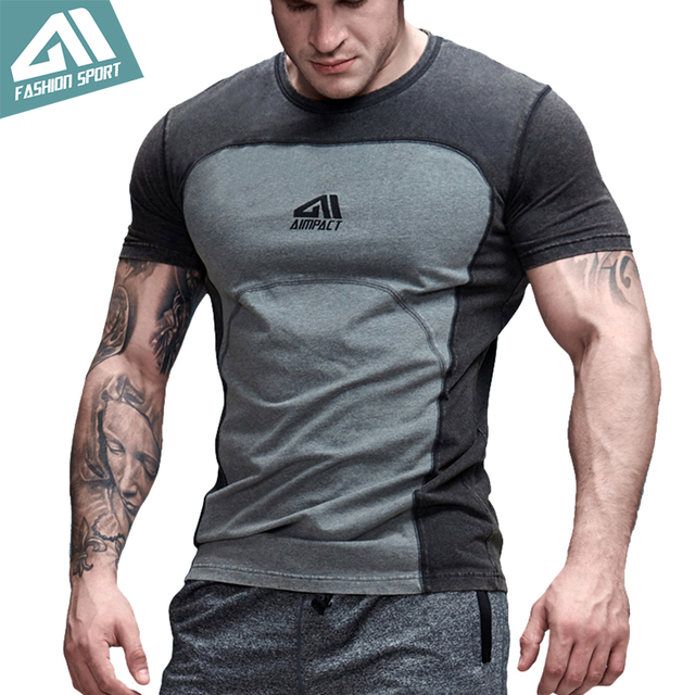 Aimpact Contrast Color Patchwork Cotton Men's Tshirts Bodybuilding Gym T-shirts Man New Fitness Short Sleeve Shirts Male AM1004