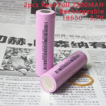 2pcs Real Full 2200MAH Capacity 18650 Batteries 3.7v Lithium Li-ion Rechargeable 18650 Battery Wholesale