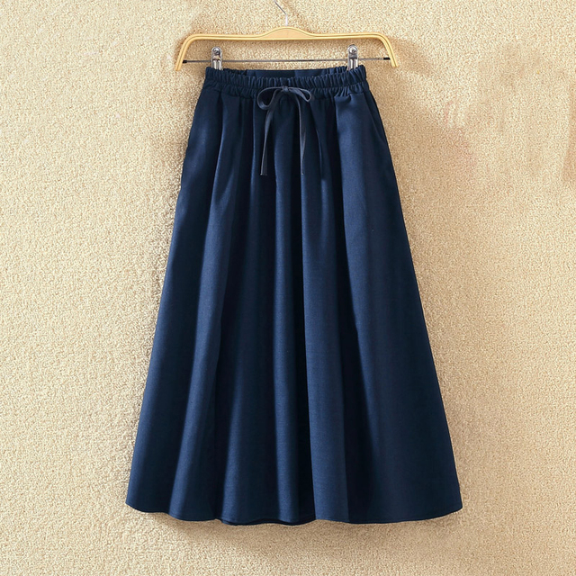 Vintage Elastic High Waist Skirts Women Solid Color Pleated Long Skirt 2018 Summer  Cotton Linen A Line Beach Skirts Saia FP0767