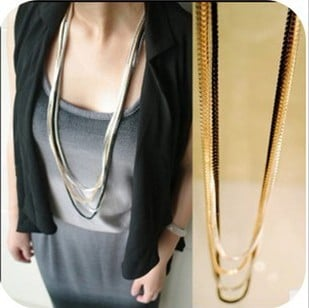 New Fashion Maxi Necklace Korean Choker Jewelry Collier Femme 2018 Strip Method Multilayer Metal Chain Pendant Necklace