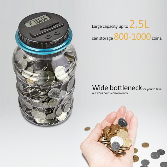 Electronic Piggy Bank Counter Coin Digital LCD Counting Coins Storage Box Money Saving Box Jar for USD EURO GBP Money