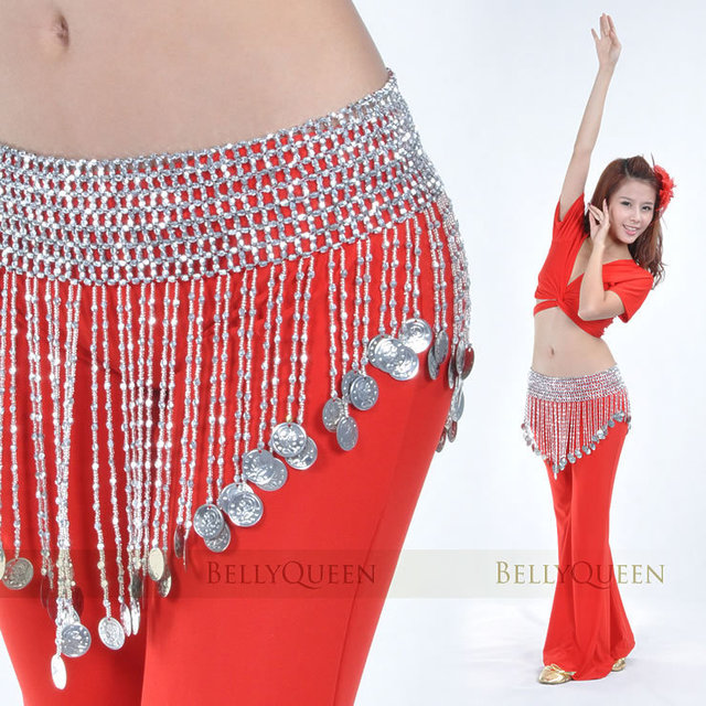Belly Dance Hip Scarf Bead Elastic Belt Waist Jewelry Gold Silver 2 colors