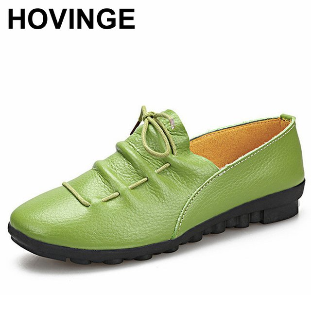 HOVINGE New Spring Autumn Shoes Woman Genuine Leather Flats Women Slip On Women's Loafers Female Moccasins Shoes D020