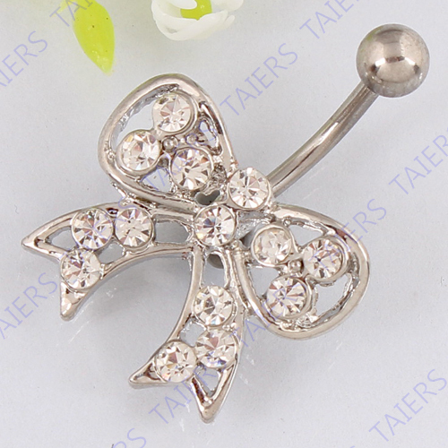 Bow crystal belly button ring fashion navel jewelry belly bar body piercing navel ring 14G 316L surgical steel Nickel-free