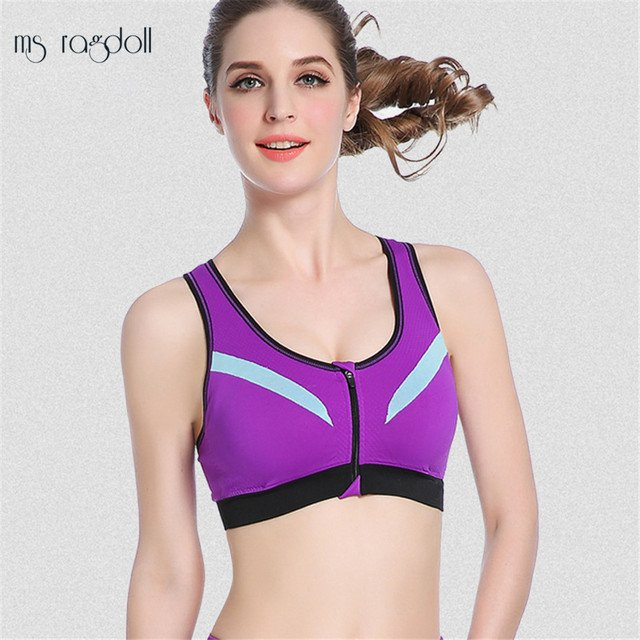 Front Zipper Padded Wirefree Shockproof Push Up Sport Bra Top Gym Fitness Athletic Running Deportiva Mujer Gym Yoga Bras Fitness