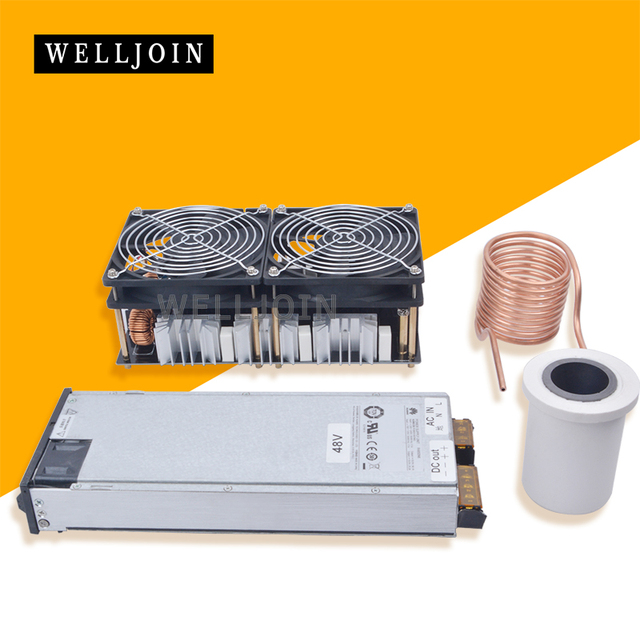 1800W ZVS Induction Heater Induction Heating PCB Board Heating Machine Melted Metal+Goil Mayrtr+Crucible+Pump+Ppower Supply