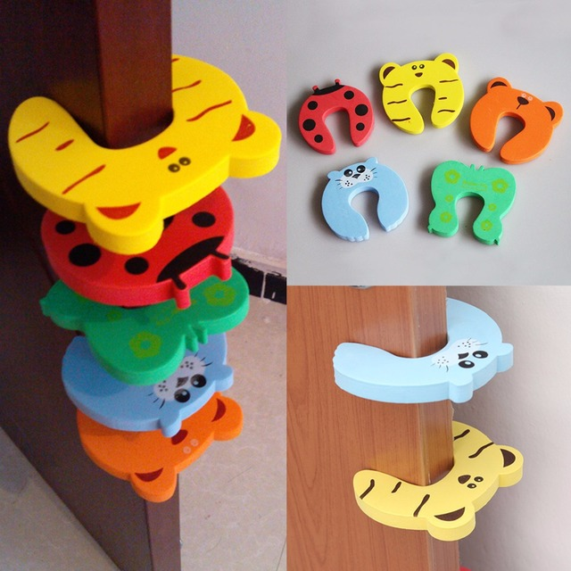 4pcs/lot Baby Kids Safety Door Stopper Cartoon Animal Protecting Corner Guard Jammers Security Guard Holder Pad Lock